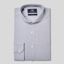 Load image into Gallery viewer, Rael Brook Tailored Fit Grey Pinstripe Single Cuff Shirt