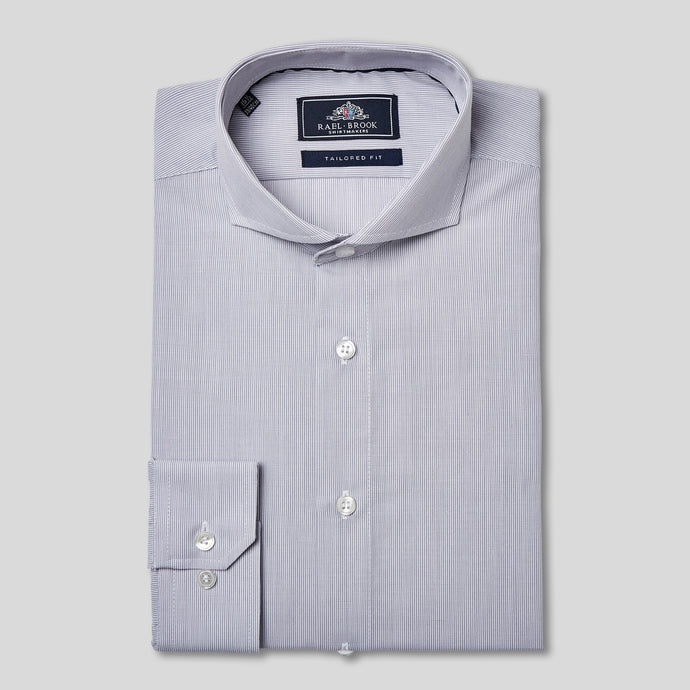 Tailored Fit Grey Pinstripe Single Cuff Shirt