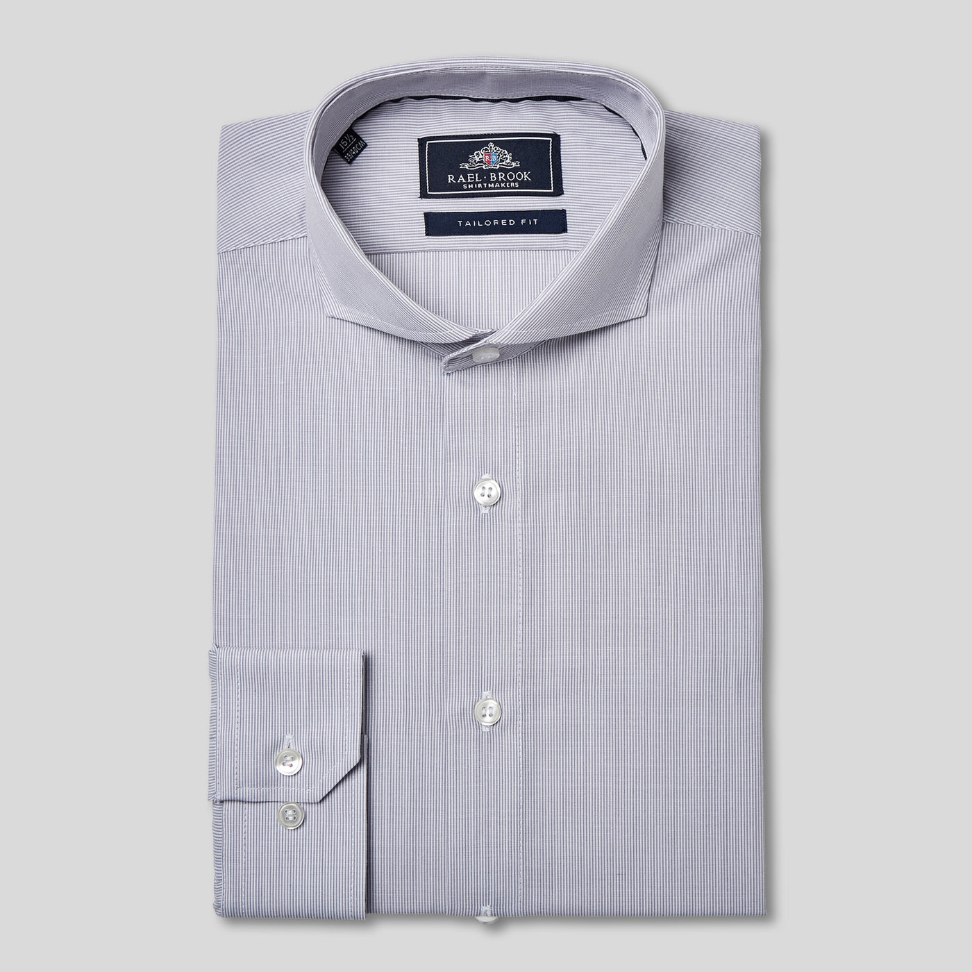 Rael Brook Tailored Fit Grey Pinstripe Single Cuff Shirt