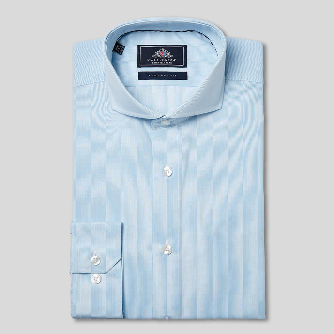 Rael Brook Tailored Fit Light Blue Pinstripe Single Cuff Shirt