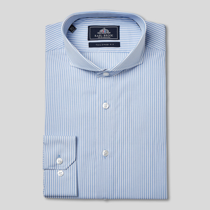 Rael Brook Tailored Fit Blue Candy Stripe Single Cuff Shirt