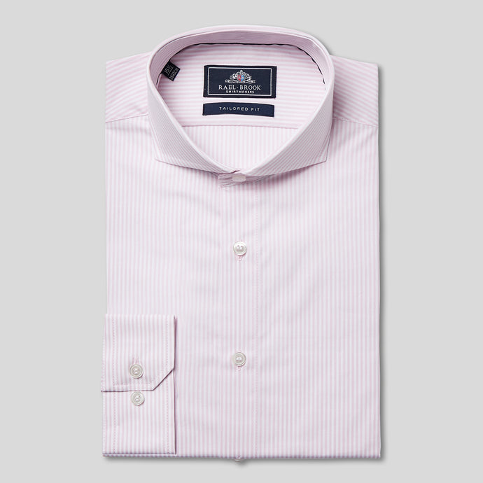 Rael Brook Tailored Fit Pink Candy Stripe Single Cuff Shirt