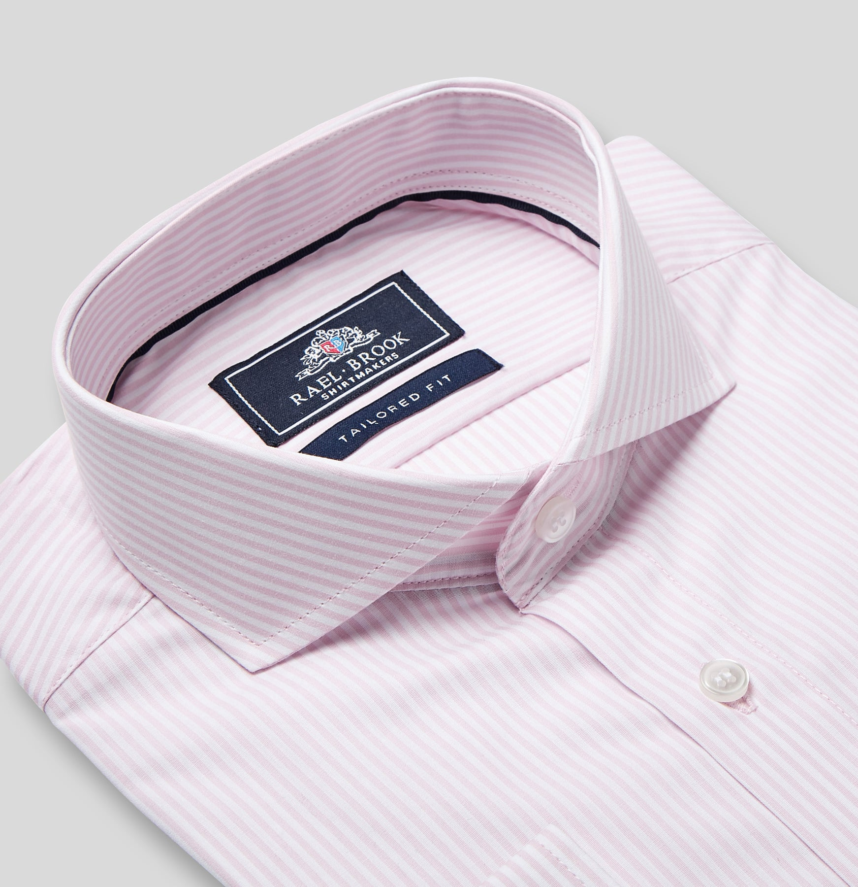 Rael Brook Tailored Fit Pink Candy Stripe Single Cuff Shirt Collar