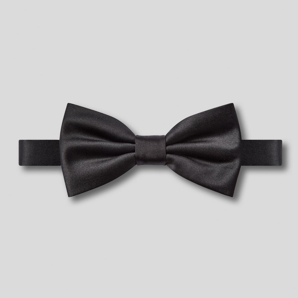 Folkespeare Black Plain Satin Classic Bow Tie