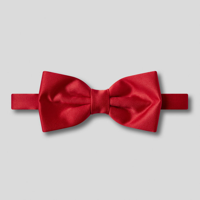 Folkespeare Scarlet Red Plain Satin Classic Bow Tie