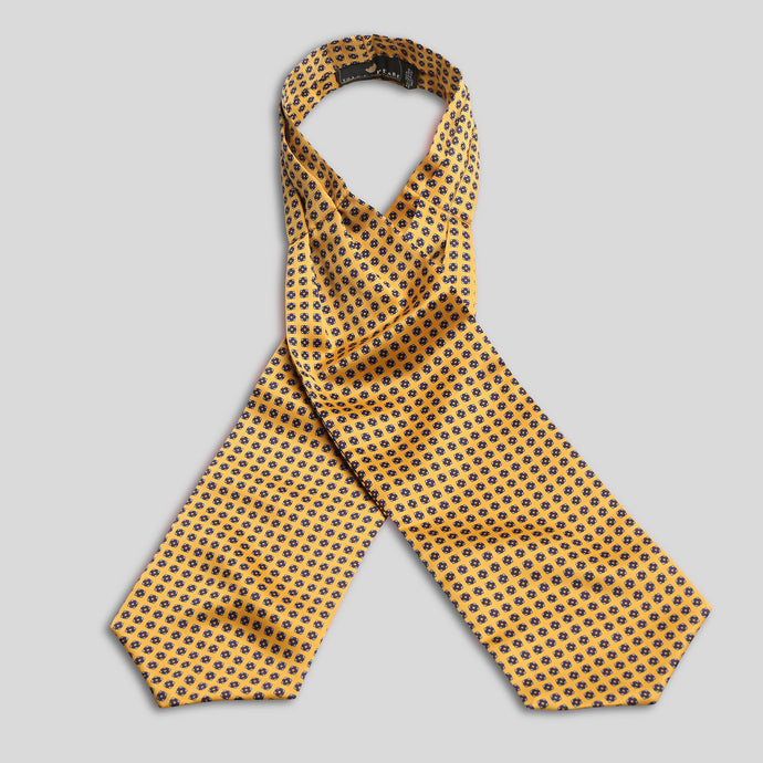 Folkespeare Yellow And Blue Satin Patterned Cravat