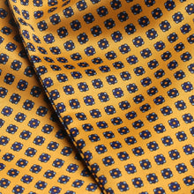 Load image into Gallery viewer, CP0740-02-Folkespeare-Yellow-And-Blue-Satin-Patterned-Cravat-2