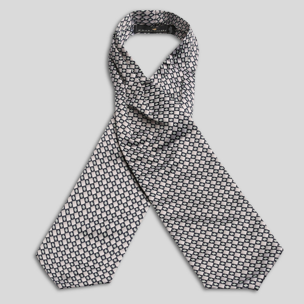 Silver And White Satin Patterned Cravat