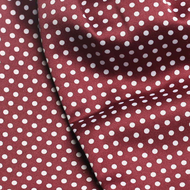 Folkespeare Burgundy And White Satin Patterned Cravat Fabric
