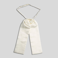 Load image into Gallery viewer, Folkespeare Ivory Satin Swatch Wedding Cravat With Pearl Pin