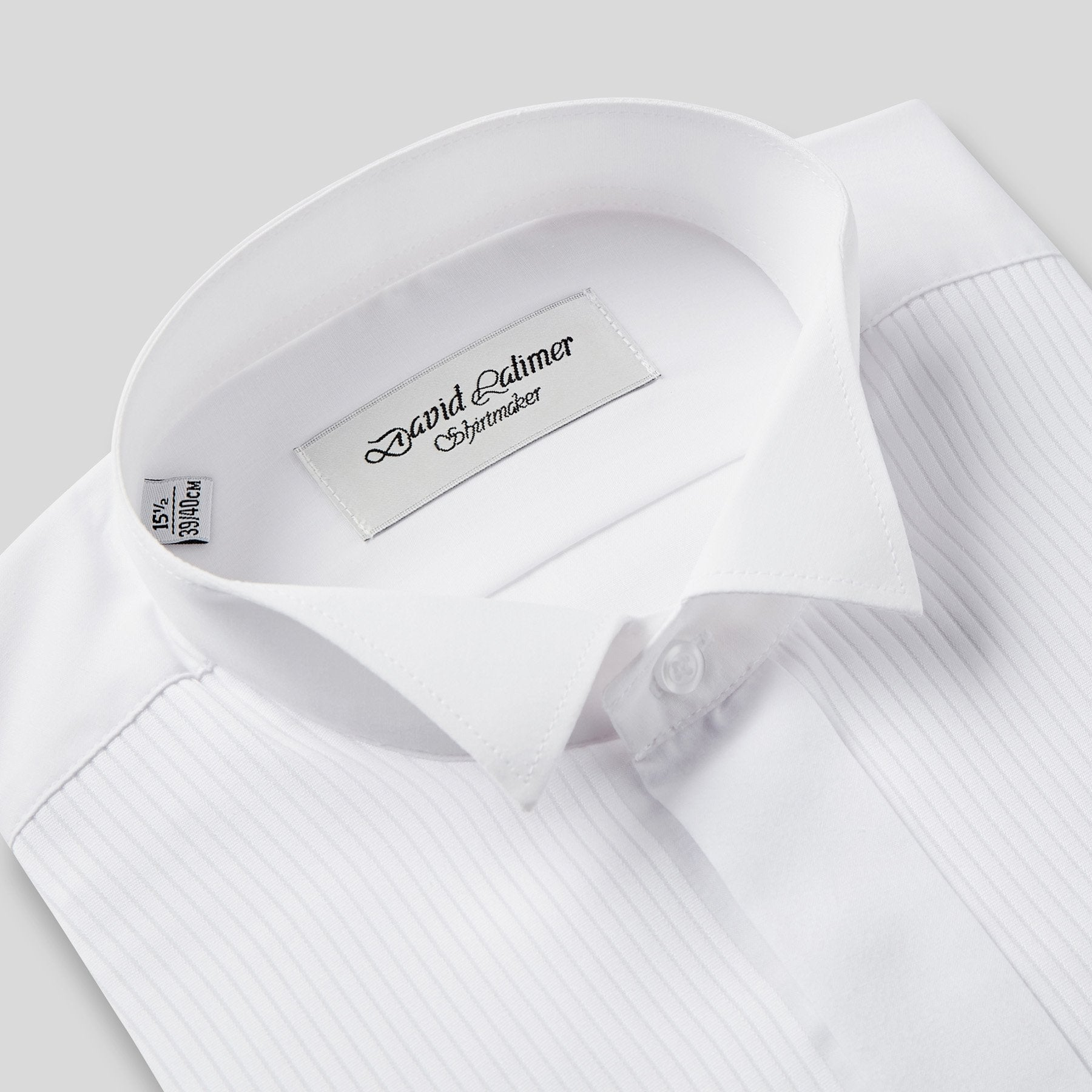 Rael Brook Classic Fit White Full Front Pleat Wing Collar Dress Shirt Collar