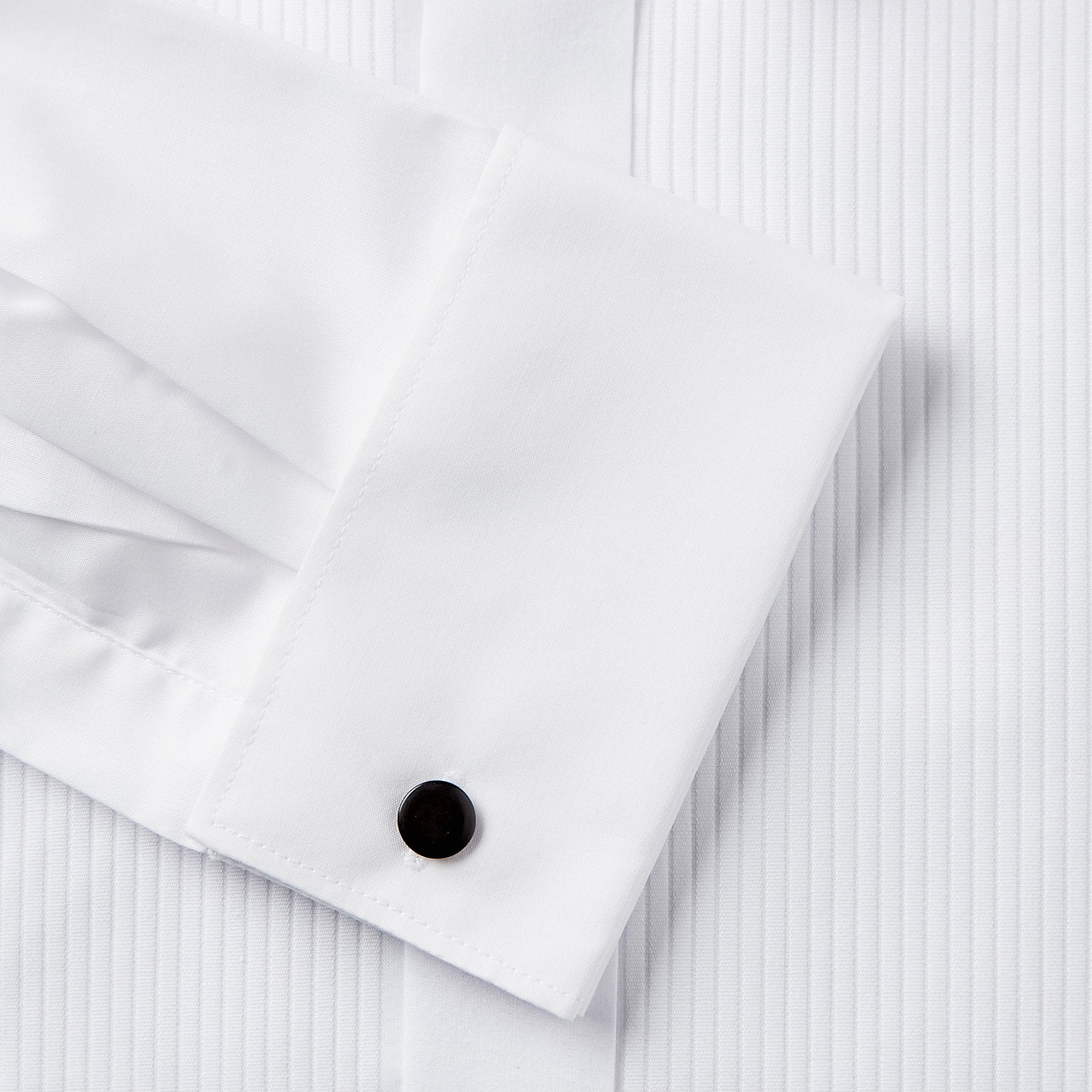 Rael Brook Classic Fit White Full Front Pleat Wing Collar Dress Shirt Cuff
