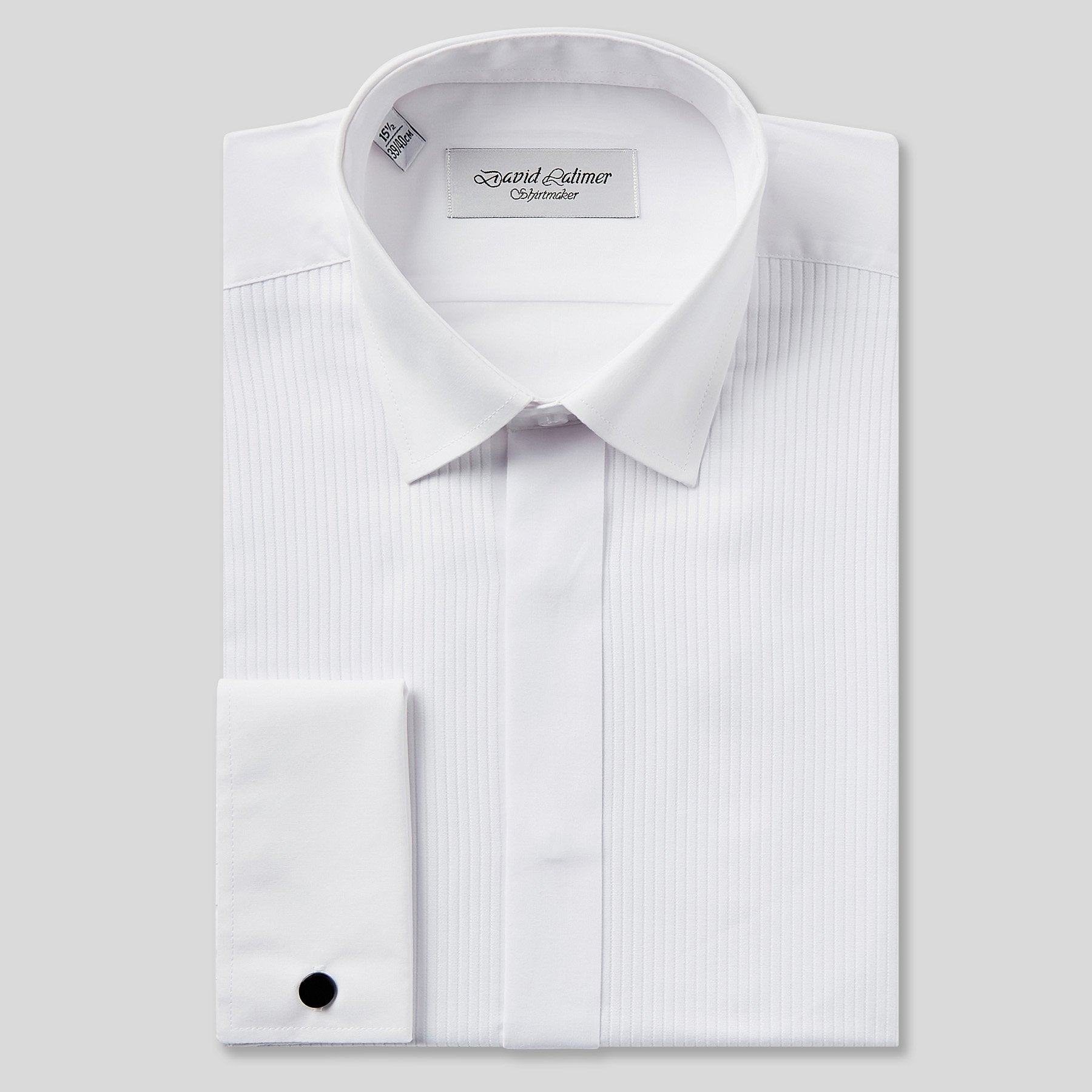 Rael Brook Classic Fit White Full Front Pleat Dress Shirt