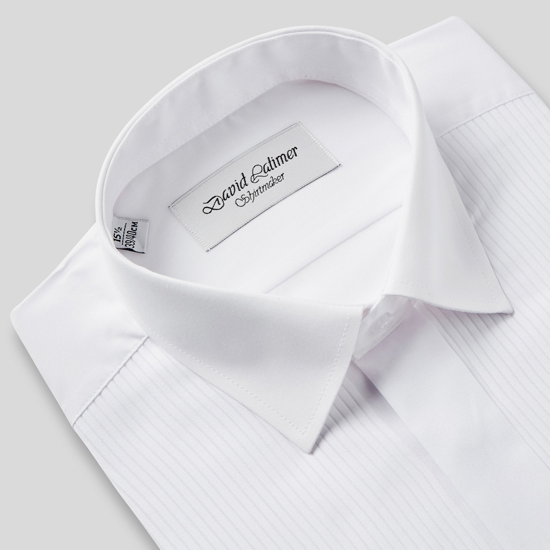Rael Brook Classic Fit White Full Front Pleat Dress Shirt Collar