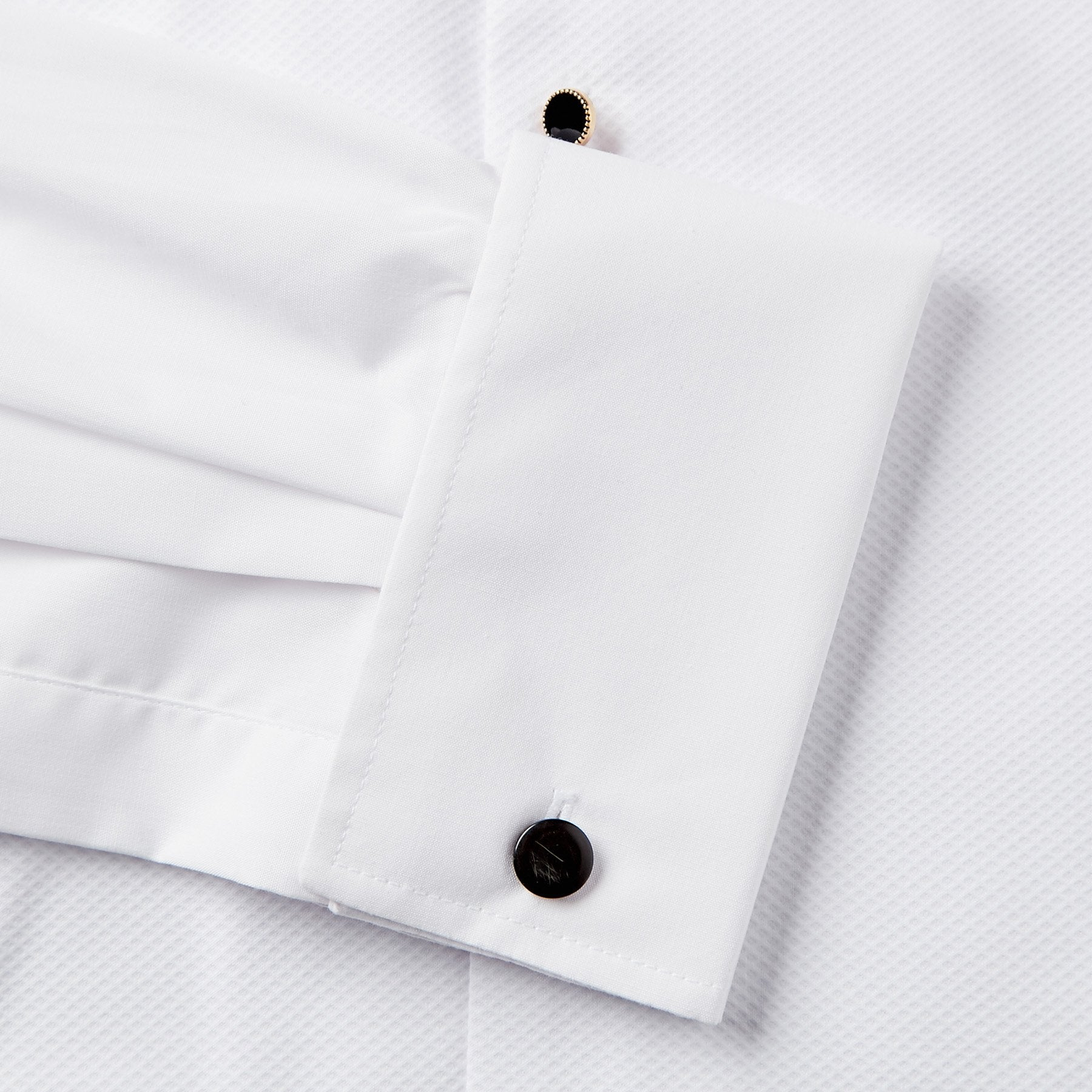 Rael Brook Classic Fit White Marcella Gold Buttons Double Cuff Dress Shirt Cuff