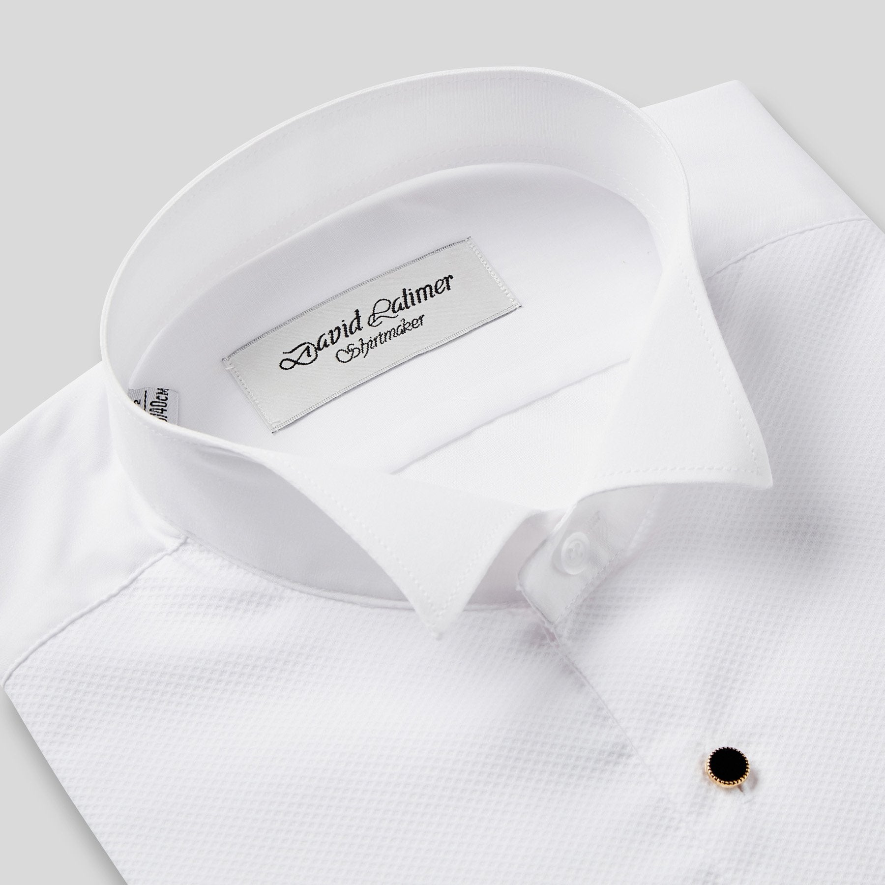 Rael Brook Classic Fit White Marcella Gold Buttons Double Cuff Wing Collar Dress Shirt Collar
