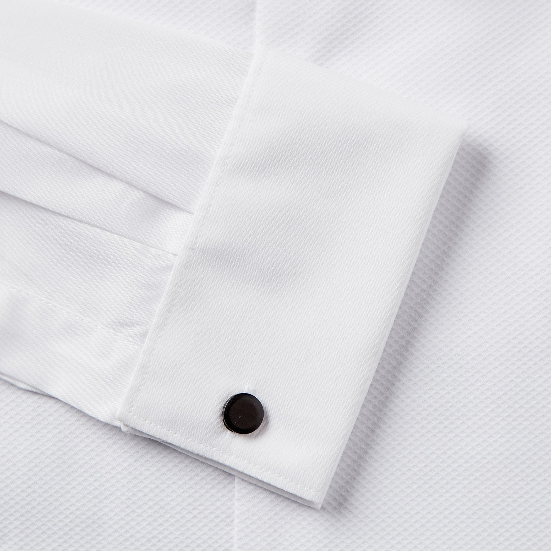 Rael Brook Classic Fit White Marcella Gold Buttons Double Cuff Wing Collar Dress Shirt Cuff