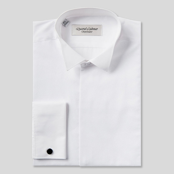 C Rael Brook Classic Fit White Marcella Fly Front Wing Collar Dress Shirt