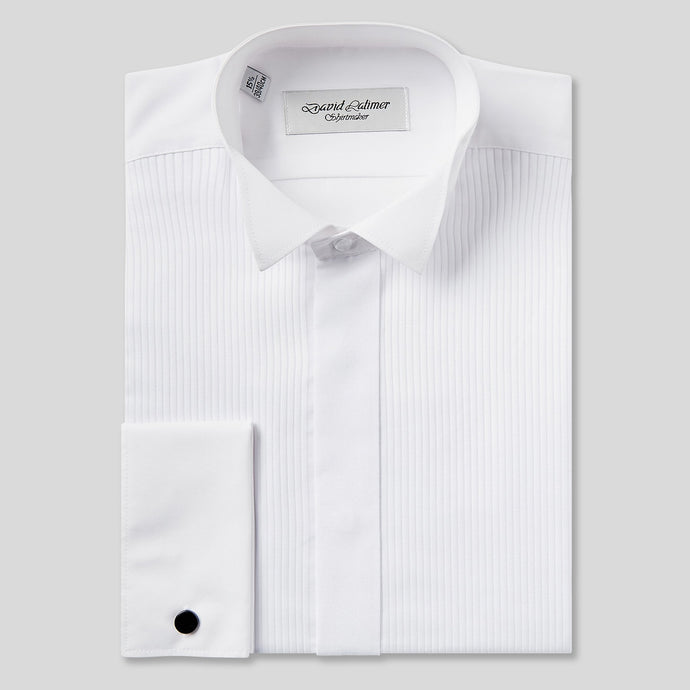Rael Brook Tailored Fit White Full Front Pleat Wing Collar Dress Shirt