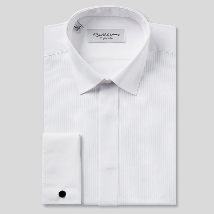 Rael Brook Tailored Fit White Full Front Pleat Dress Shirt