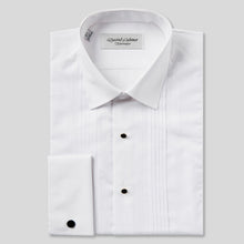 Load image into Gallery viewer, Rael Brook Classic Fit White Pleat Gold Buttons Double Cuff Dress Shirt