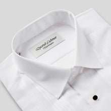 Load image into Gallery viewer, Rael Brook Classic Fit White Pleat Gold Buttons Double Cuff Dress Shirt Collar