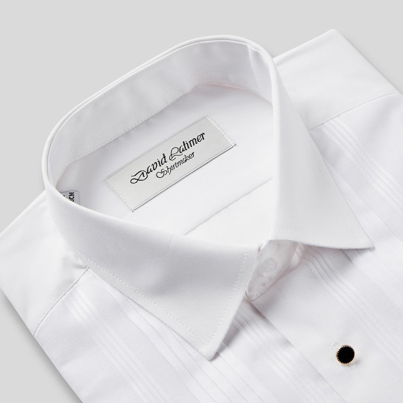 Rael Brook Classic Fit White Pleat Gold Buttons Double Cuff Dress Shirt Collar