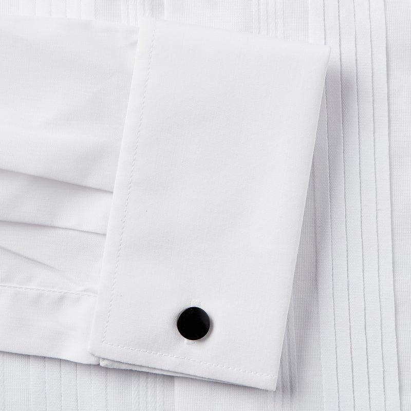 Rael Brook Classic Fit White Pleat Gold Buttons Double Cuff Dress Shirt Cuff