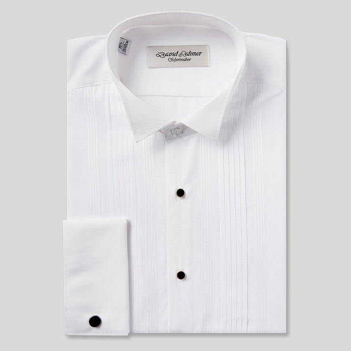 Rael Brook Classic Fit White Pleat Gold Buttons Double Cuff Wing Collar Dress Shirt