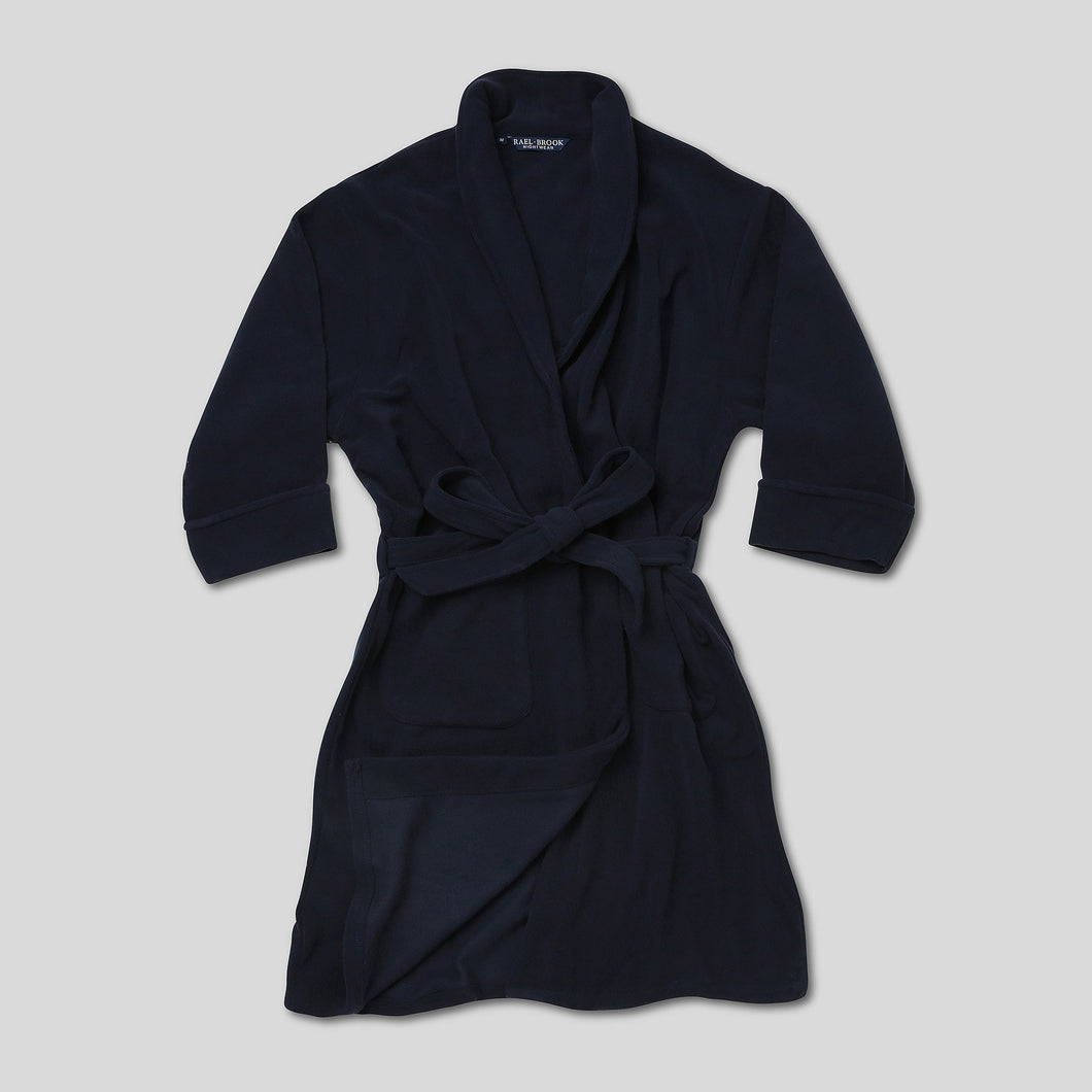 Rael Brook Navy Brushed Dressing Gown