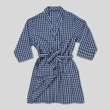 Load image into Gallery viewer, Rael Brook Navy With White Check Dressing Gown