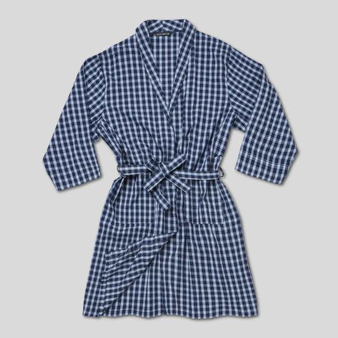 Rael Brook Navy With White Check Dressing Gown
