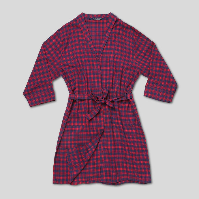 Rael Brook Navy With Red Check Brushed Dressing Gown