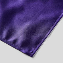 Load image into Gallery viewer, Folkespeare Purple Satin Pocket Square finishing
