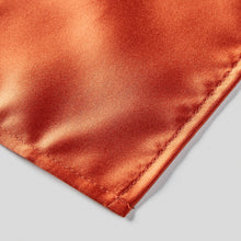 Load image into Gallery viewer, Folkespeare Rust Satin Pocket Square finishing