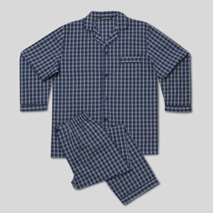 Rael Brook Standard Fit Navy With Yellow Check Woven Pyjama Set