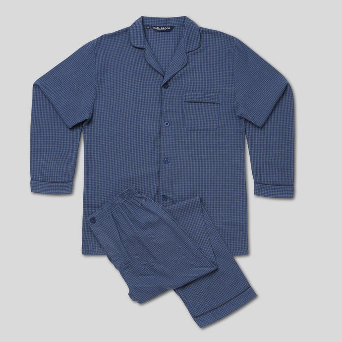 Rael Brook Standard Fit Navy Check Brushed Cotton Pyjama Set