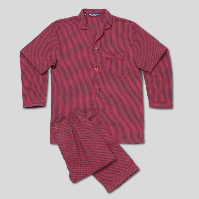 Rael Brook Standard Fit Mini Red Check Brushed Cotton Pyjama Set