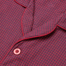 Load image into Gallery viewer, Rael Brook Standard Fit Mini Red Check Brushed Cotton Pyjama Set Collar and Fastening