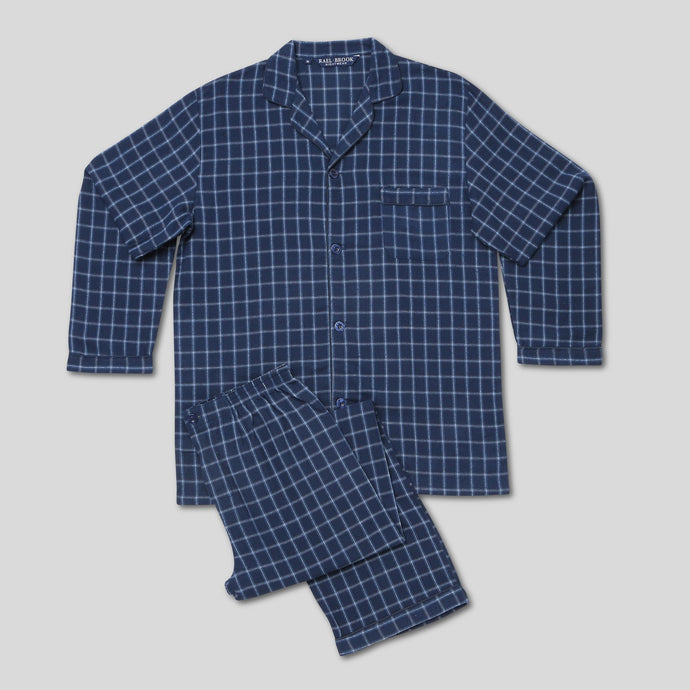 Rael Brook Standard Fit Navy Wide Check Brushed Cotton Pyjama Set