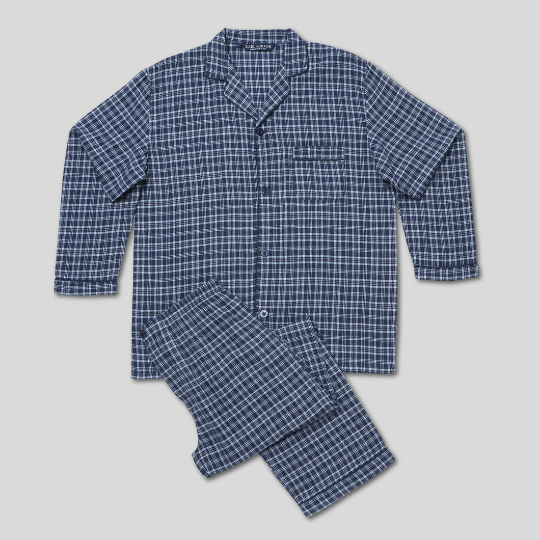 Rael Brook Standard Fit Navy With Light Blue Check Brushed Cotton Pyjama Set