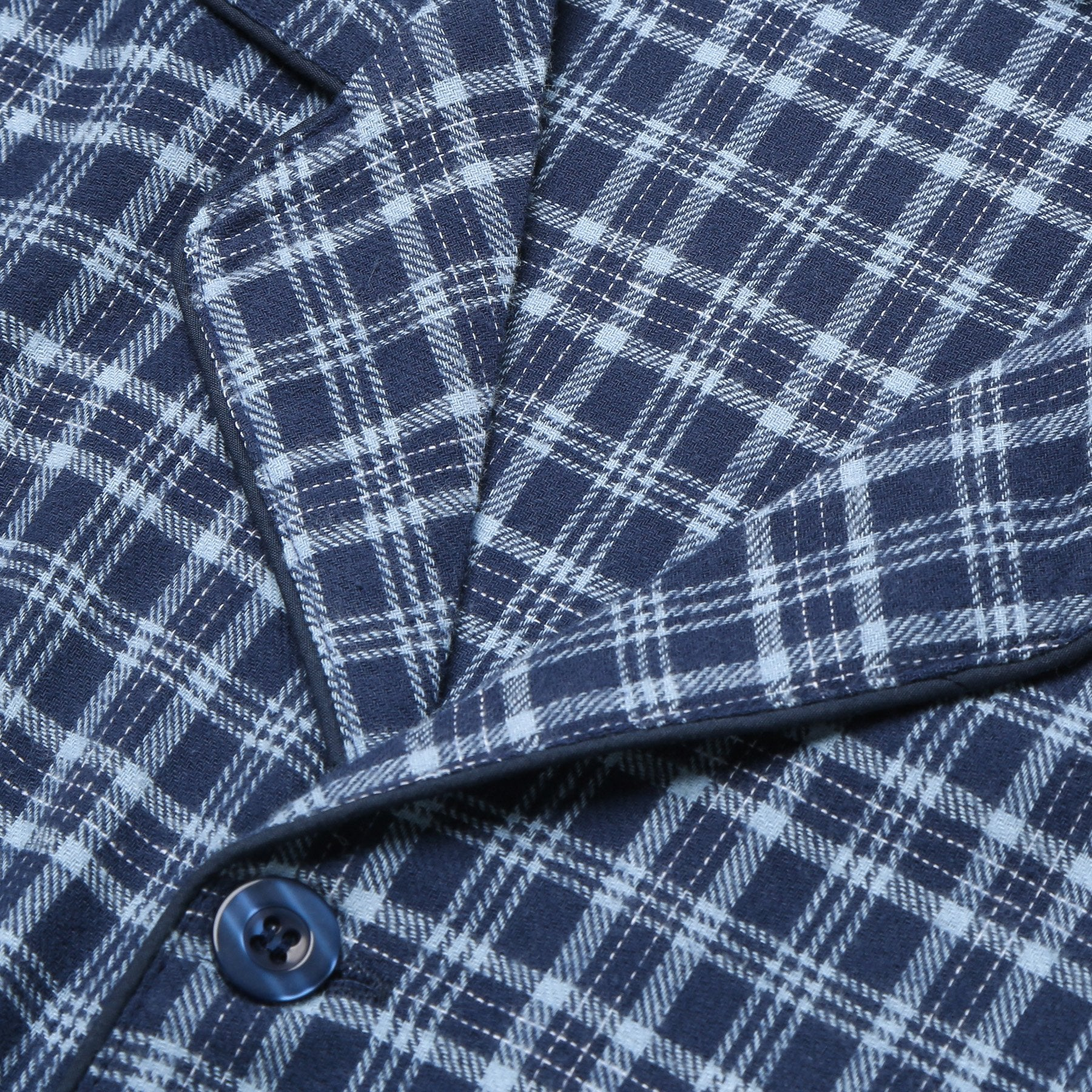 Rael Brook Standard Fit Navy With Light Blue Check Brushed Cotton Pyjama Set Collar and Fastening
