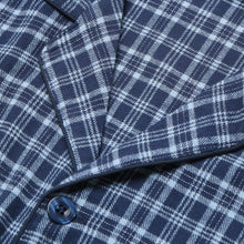 Load image into Gallery viewer, Rael Brook Standard Fit Navy With Light Blue Check Brushed Cotton Pyjama Set Collar and Fastening