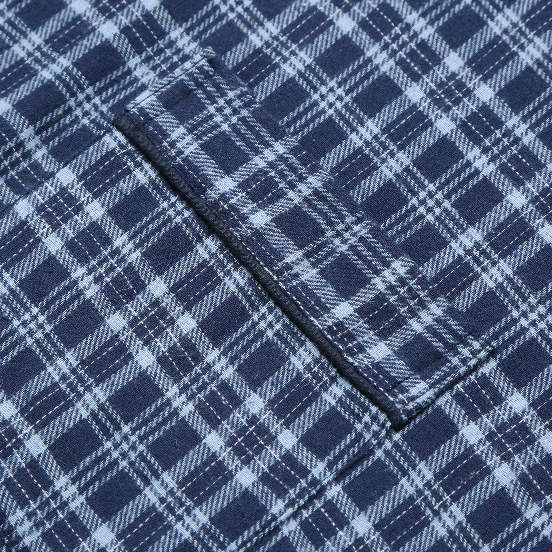 Rael Brook Standard Fit Navy With Light Blue Check Brushed Cotton Pyjama Set Cuff Detail