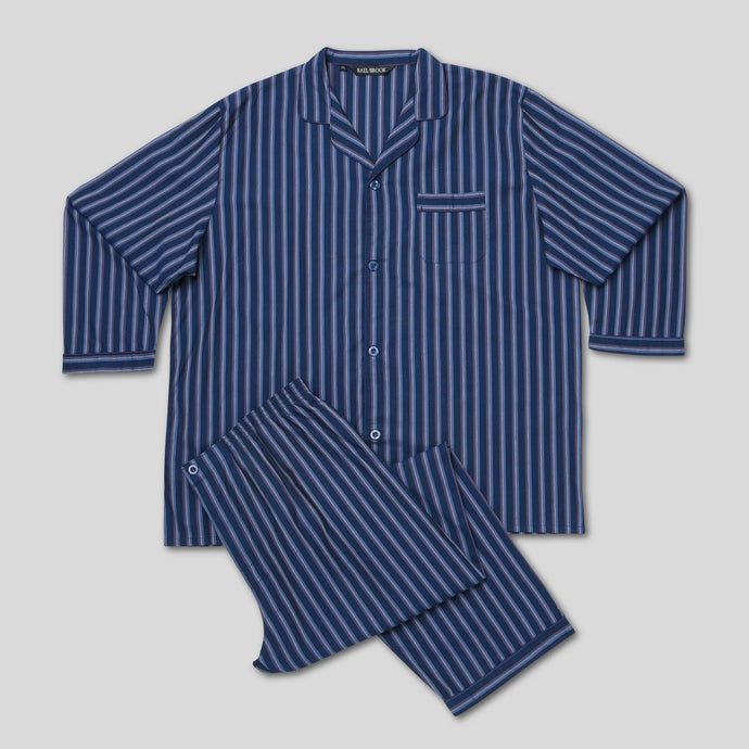 Rael Brook Standard Fit Navy With Stripe Woven Pyjama Set