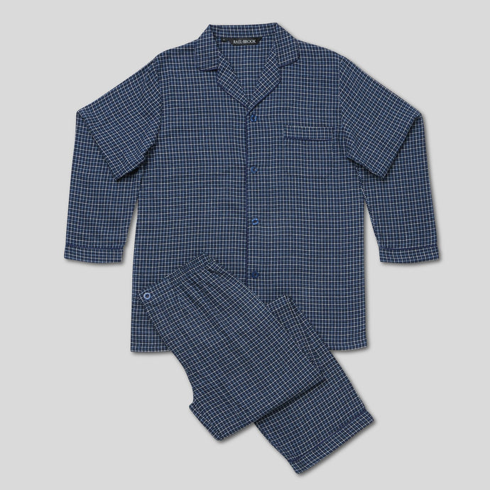 Rael Brook Standard Fit Navy With White Check Brushed Cotton Pyjama Set