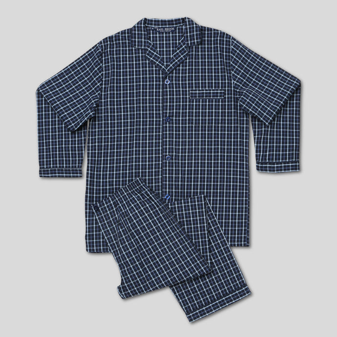 Rael Brook Standard Fit Navy With Orange Check Woven Pyjama Set