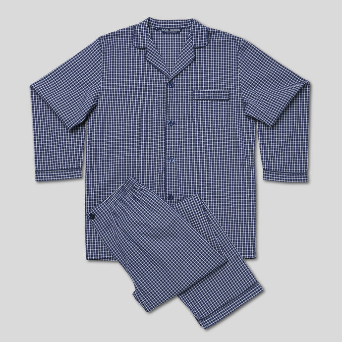 Rael Brook Standard Fit Navy With White Micro Check Woven Pyjama Set