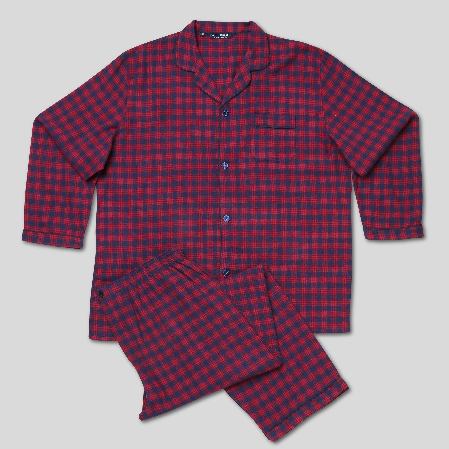 Rael Brook Standard Fit Red Check Brushed Cotton Pyjama Set