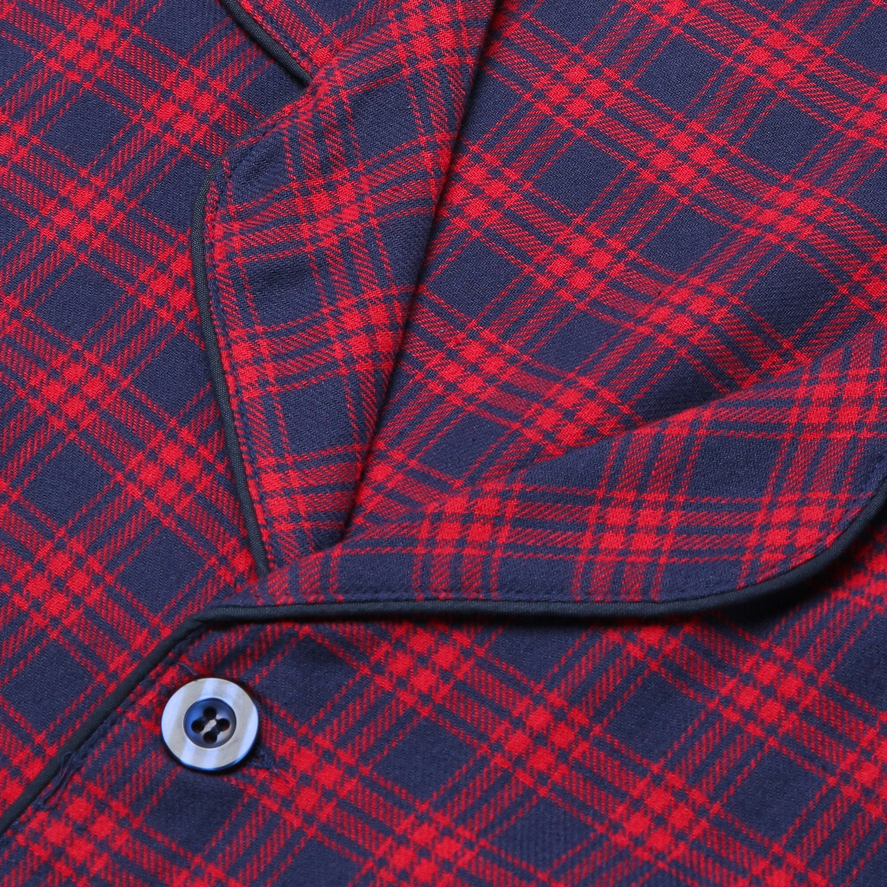 Rael Brook Standard Fit Red Check Brushed Cotton Pyjama Set Collar and Fastening